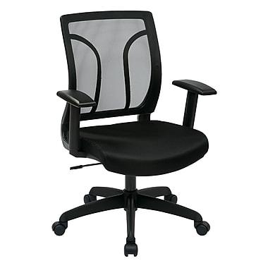 Office Star– Fauteuil de bureau WorkSmart à dossier et siège en mailles avec accoudoirs ajustables, noir