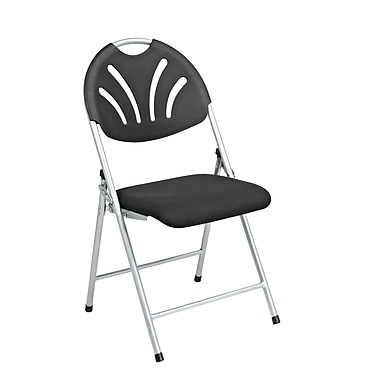 WorkSmart Folding Chair with Plastic Fan Back and Mesh Fabric Seat, Black, 4/Pack