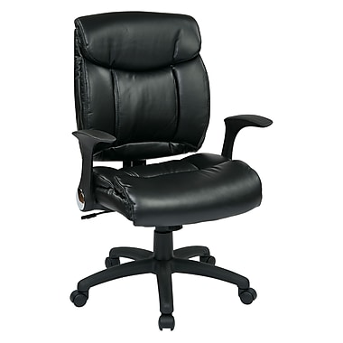 WorkSmart Faux Leather Managers Chair with Flip Arms, Black