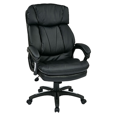 WorkSmart Oversized Executive Faux Leather Chair with Padded Loop Arms, Black