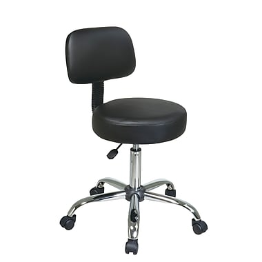 Work Smart Drafting Stool with Vinyl Seat and Back, Black