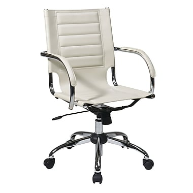 Office Star Trinidad Office Chair with Fixed Padded Arms, Cream