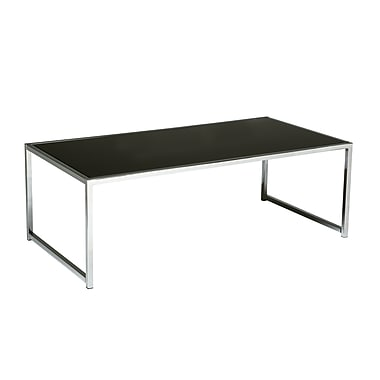 Yield Coffee Table with Chrome Frame and Black Glass Top
