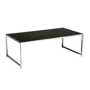 Table à café avec cadre en chrome et dessus en verre noir