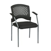 Pro-Line Visitors Chair with Arms and Ventilated Plastic Wrap Around Back, Black