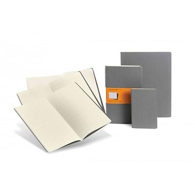 Moleskine Cahier Journal Plain Notebook Large Set of 3, Gray