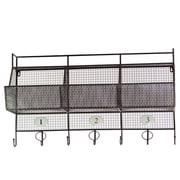 Urban Trends Metal Shelf and Coat Hanger w/ Mesh Backing, 3 Numbered Shelves and 7 Hooks Black