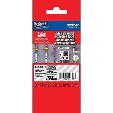 Brother Label Tape with Extra Strength Adhesive 8m (26.2 ft), 12mm (0.47