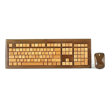 Impecca KBB603CW USB RF Wireless Bamboo Designer Keyboard and Mouse, Walnut
