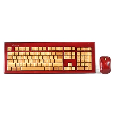 Impecca KBB605CW USB RF Wireless Bamboo Designer Keyboard and Mouse, Cherry