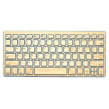 Impecca KBB78BTB Bluetooth Wireless Bamboo Sleek Keyboard, Blue Trim