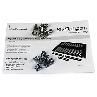 StarTech.com 1U Adjustable Mounting Depth Vented Rack Mount Shelf, 175lbs / 80kg