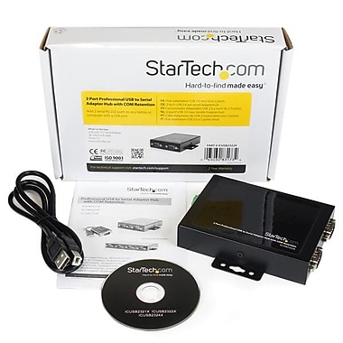 StarTech.com 2 Port Wall Mountable USB to Serial Adapter Hub with COM Retention