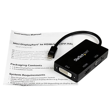 StarTech® Mini DisplayPort™ to VGA / DVI / HDMI Adapter, 3-in-1 mDP Converter