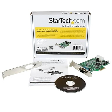 StarTech® 1 Port Low Profile Native RS232 PCI Express Serial Card with 16550 UART
