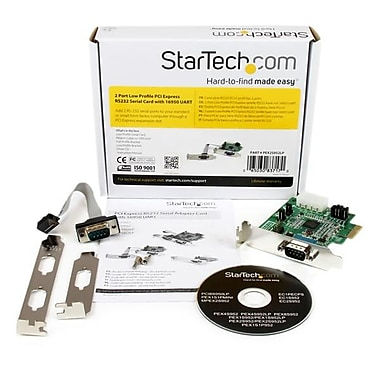 StarTech® 2 Port Low Profile Native RS232 PCI Express Serial Card with 16950 UART