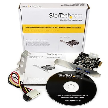 StarTech® 2 Port PCI Express (PCIe) SuperSpeed USB 3.0 Card Adapter with UASP, LP4 Power