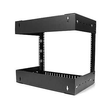 StarTech® 8U Open Frame Wall Mount Equipment Rack, Adjustable Depth