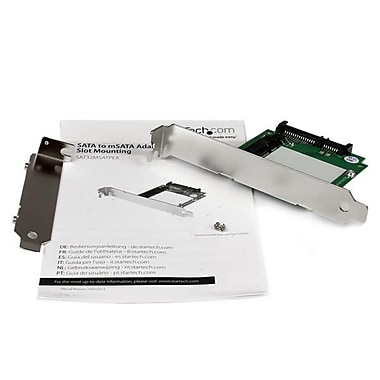 StarTech.com SATA to mSATA SSD Adapter w/ Full and Low Profile Brackets, SATA to Mini SATA Converter Card