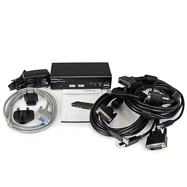 StarTech ® Commutateur KVM USB DVI à 2 ports, avec la technologie de commutation rapide DDM et des câbles