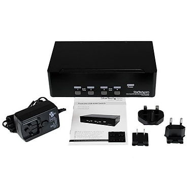 StarTech® 4 Port Dual DVI USB KVM Switch with Audio & USB 2.0 Hub
