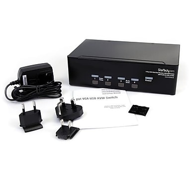 StarTech® 4 Port DVI VGA Dual Monitor KVM Switch USB w/Audio & USB 2.0 Hub