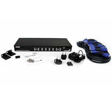 StarTech® 8 Port 1U Rackmount USB KVM Switch Kit with OSD and Cables