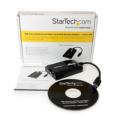 StarTech® USB 3.0 to VGA External Video Card Multi Monitor Adapter for Mac and PC, 1920x1200 / 1080p