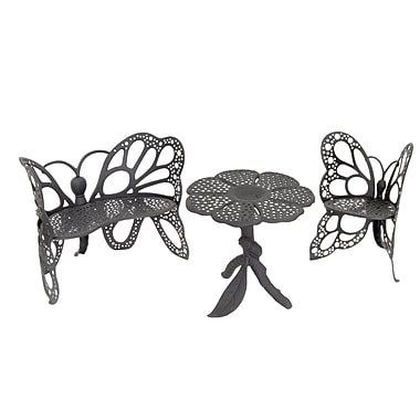 Flowerhouse Butterfly 3 Piece Bench Seating Group Set; Black