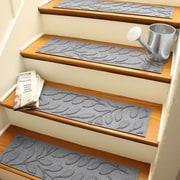 Bungalow Flooring Aqua Shield Medium Gray Brittany Leaf Stair Tread (Set of 4)