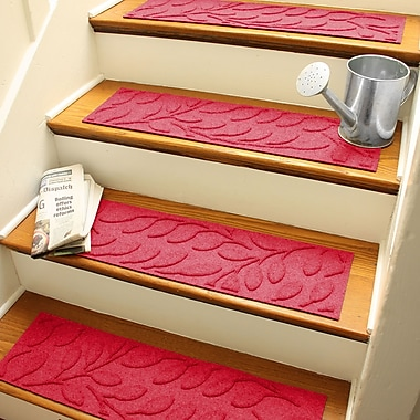 Bungalow Flooring Aqua Shield Solid Red Brittany Leaf Stair Tread (Set of 4)