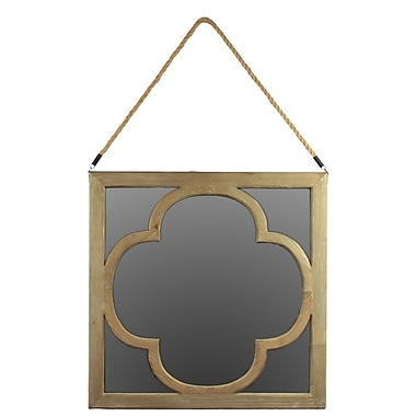 Urban Trends Wood Mirror w/ Rope Hanger Natural Wood Finish
