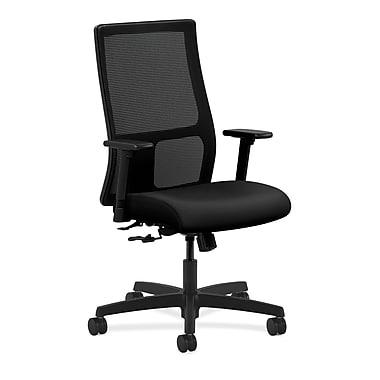 HON Ignition Mid-Back Mesh Task Chair Center, Tilt with Adjustable Arms, Black Polyurethane