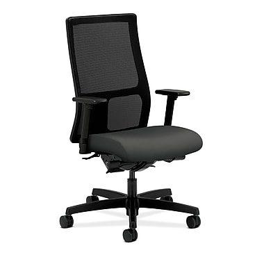 Hon – Chaise Ignition fonctionnelle mi-dos, bascul. synchro, dossier filet, accoudoirs ajustables inclinables, tissu minerai fer