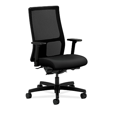 HON Ignition Synchro-Tilt Mid-Back Mesh Task Chair, Back Angle Adjustable Arms, Black Polyurethane