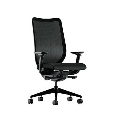 Hon – Fauteuil Nucleus fonctionnel avec dossier en filet, basc. synchro, siège et accoudoirs à glissière, polyuréthane noir