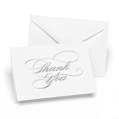 """""Hortense B. Hewitt, 3-1/2"""""""" x 4-7/8"""""""", Wedding Thank You Card, White/Silver Foil, 50/Pack"""""" 1029614"