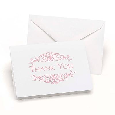 """""Hortense B. Hewitt, 3-1/2"""""""" x 4-7/8"""""""", Flourish Frame Wedding Thank You Card, White/Soft Pink, 50/Pack"""""" 1029595"