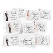 "Hortense B. Hewitt, 3-1/2"" x 4-7/8"", Bridal Party Wedding Thank You Card Set, White/Black, 30/Pack"