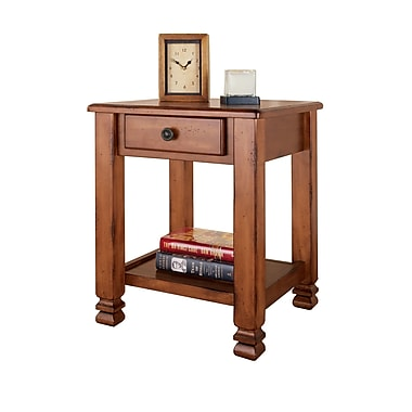 Dorel Summit Mountain End Table, Rustic Brown