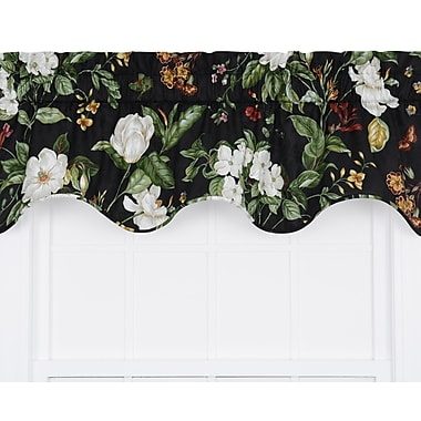 Ellis Curtain Garden Images Large Scale Floral Print Lined Duchess Filler Curtain Valance; Black