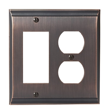 Amerock Candler Rocker 2 Plug Wallplate; Oil-Rubbed Bronze