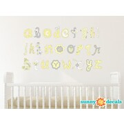 Sunny Decals Script Alphabet Fabric Wall Decal; Yellow/Grey