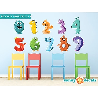 Sunny Decals Monster Numbers Fabric Wall Decal; Large