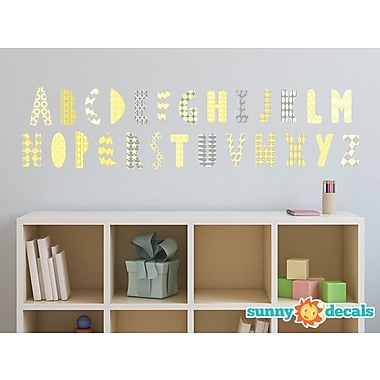 Sunny Decals Modern Alphabet Fabric Wall Decal; Yellow/Grey/White