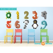 Sunny Decals Colorful Animal Number from 0 to 9 Fabric Wall Decal; Small