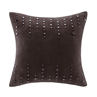 Madison Park Stud Suede Throw Pillow; Brown
