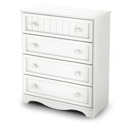 South ShoreMD – Commode à 4 tiroirs de la collection Savannah, blanc pur, 41,5 haut. x 35,5 larg. x 17,5 prof. (po)