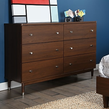 South Shore Olly Mid-Century 6-Drawer Double Dresser, Brown Walnut, 53.25