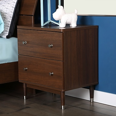 South Shore Olly Mid-Century 2-Drawer Night Stand, Brown Walnut, 23.5